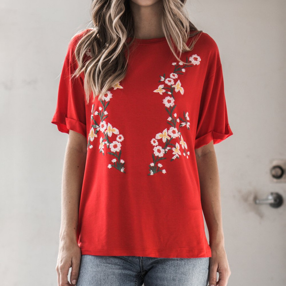 660c98de131436 Hippie Chic Tops | Red Tomato Floral Tee | Poshmark